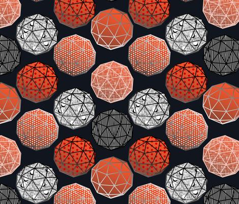 Dot this Geodesic, fancy on dark gray by Su_G fabric by su_g on Spoonflower - custom fabric