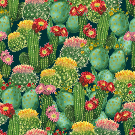 Cactuses, Medium Size fabric by svetlana_prikhnenko on Spoonflower - custom fabric