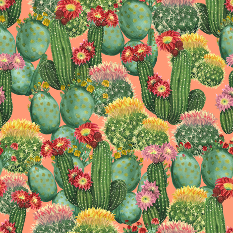 Pink cactuses fabric by svetlana_prikhnenko on Spoonflower - custom fabric