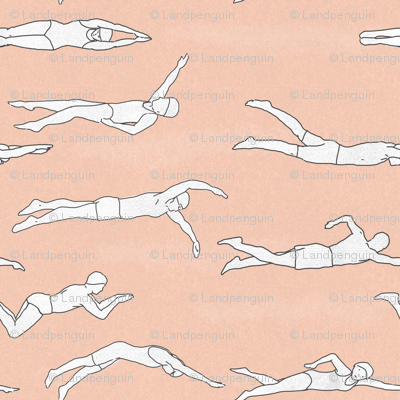 Swimmers on Pale Pink