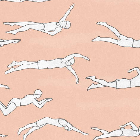 Swimmers on Pale Pink fabric by landpenguin on Spoonflower - custom fabric