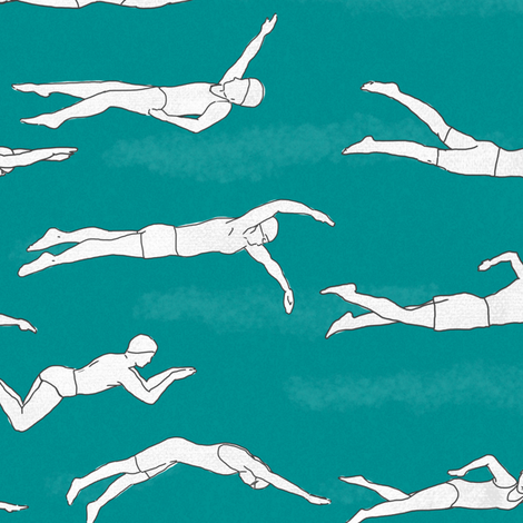 Swimmers_on_Turquoise fabric by landpenguin on Spoonflower - custom fabric