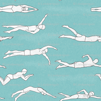 Swimmers on Light Blue