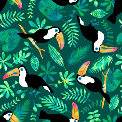 Toucan jungle watercolor green