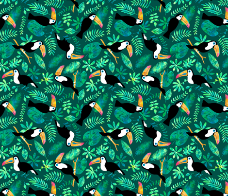 Toucan jungle watercolor green fabric by heleen_vd_thillart on Spoonflower - custom fabric