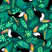 Toucan jungle watercolor green