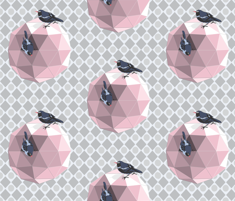 Geodesic_Birdhouse_pink fabric by colour_angel_by_kv on Spoonflower - custom fabric
