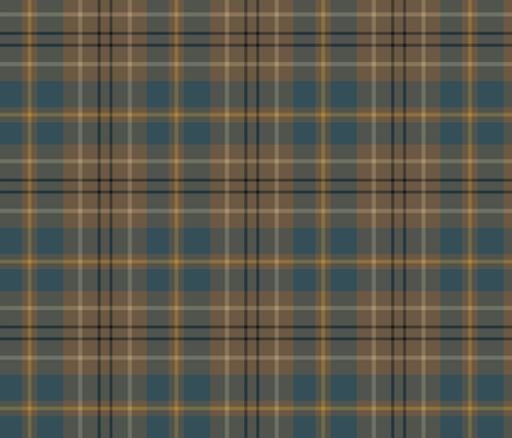 Taylor family tartan, weathered slate blue fabric by weavingmajor on Spoonflower - custom fabric