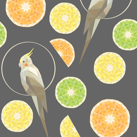 Citrus cockatiel fabric by elena_naylor on Spoonflower - custom fabric