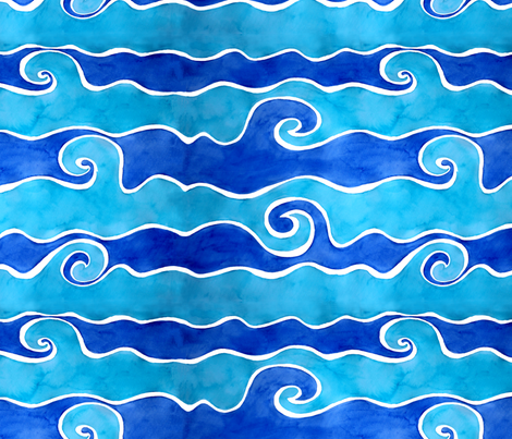 Aqua Blue Waves fabric by designergal on Spoonflower - custom fabric