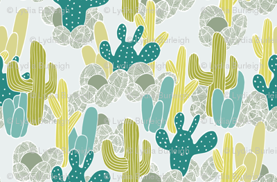 Cactus in teal and yellow