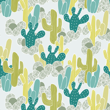 Cactus in teal and yellow fabric by lburleighdesigns on Spoonflower - custom fabric