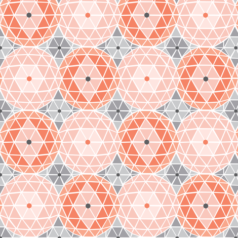 Geodome - Modern Geometric Dot Pink Blush & Grey fabric by heatherdutton on Spoonflower - custom fabric