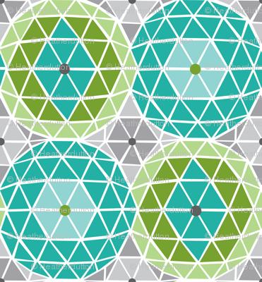 Geodome - Modern Geometric Dot Aqua Green & Grey