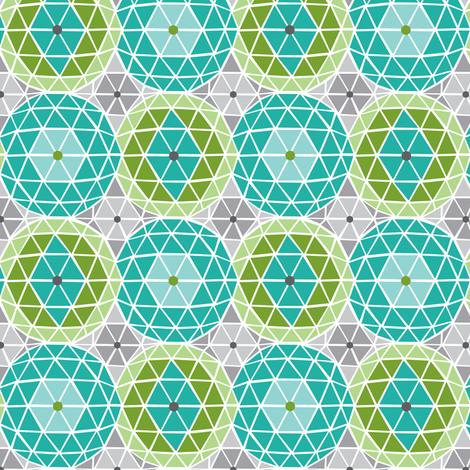 Geodome - Modern Geometric Dot Aqua Green & Grey fabric by heatherdutton on Spoonflower - custom fabric