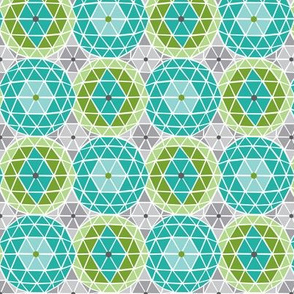 Geodome - Modern Geometric Dot Aqua Green & Grey