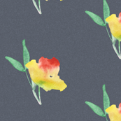 Yellow Floral on Grey