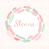 girls feather wreath - custom name fabric