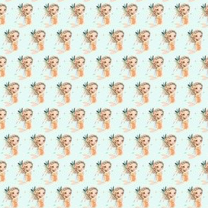 ".75"" Peach Mermaid / Teal COLOR  Background"