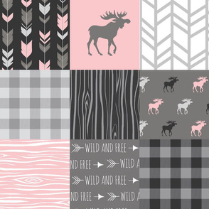 Pink Moose Wholecloth Patchwork squares - pink and grey, buffalo check, woodgrain, wild and free