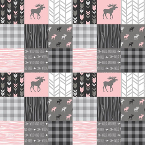 "3"" Pink Moose Wholecloth Quilt - pink and grey patchwork squares"