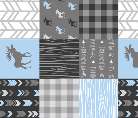 Moose Patchwork Quilt - Wholecloth - Blue, Grey and Black - Buffalo Plaids - Baby Boy Woodland blue and grey fabric by sugarpinedesign on Spoonflower - custom fabric