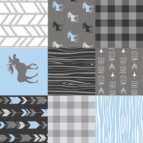 Moose Patchwork Quilt - Wholecloth - Blue, Grey and Black - Buffalo Plaids - Baby Boy Woodland blue and grey