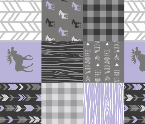 Moose Patchwork Quilt - Lilac and Grey Woodland Wholecloth - purple Moose, arrows, plaid fabric by sugarpinedesign on Spoonflower - custom fabric