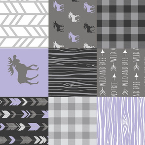 Moose Patchwork Quilt - Lilac and Grey Woodland Wholecloth - purple Moose, arrows, plaid