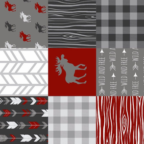 Moose Wholecloth Quilt - red, black, grey and white - Buffalo Plaid, wood, arrows - Wild and Free