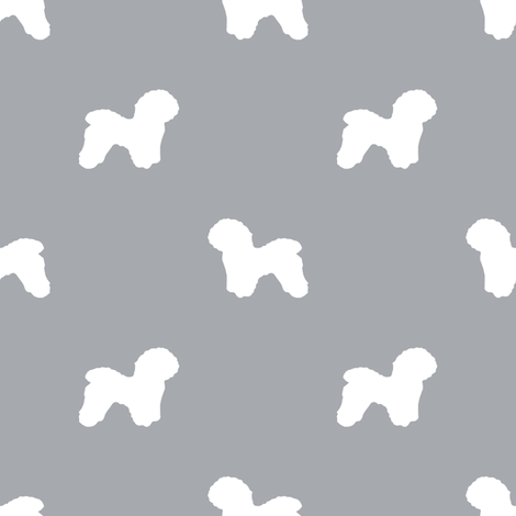 Bichon Frise silhouette dog fabric pattern grey fabric by petfriendly on Spoonflower - custom fabric