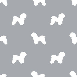 Bichon Frise silhouette dog fabric pattern grey