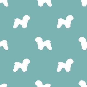Bichon Frise silhouette dog fabric pattern gulf blue