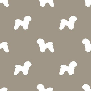 Bichon Frise silhouette dog fabric pattern med brown