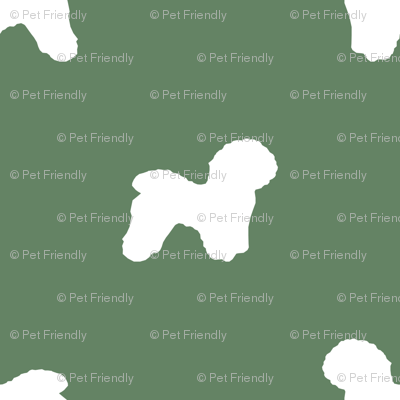 Bichon Frise silhouette dog fabric pattern med green