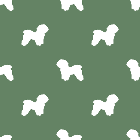 Bichon Frise silhouette dog fabric pattern med green fabric by petfriendly on Spoonflower - custom fabric