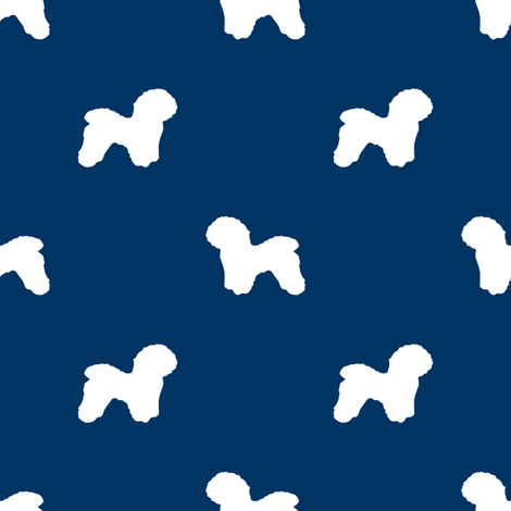 Bichon Frise silhouette dog fabric pattern navy fabric by petfriendly on Spoonflower - custom fabric