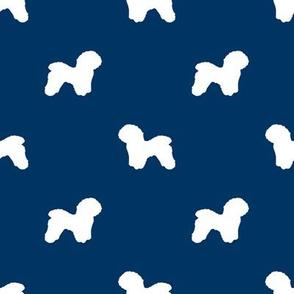Bichon Frise silhouette dog fabric pattern navy
