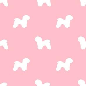 Bichon Frise silhouette dog fabric pattern pink
