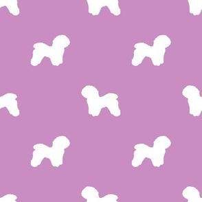 Bichon Frise silhouette dog fabric pattern purple