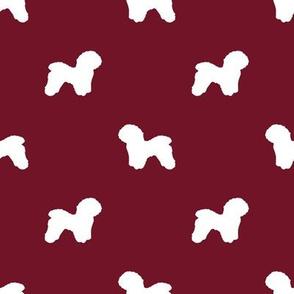 Bichon Frise silhouette dog fabric pattern ruby