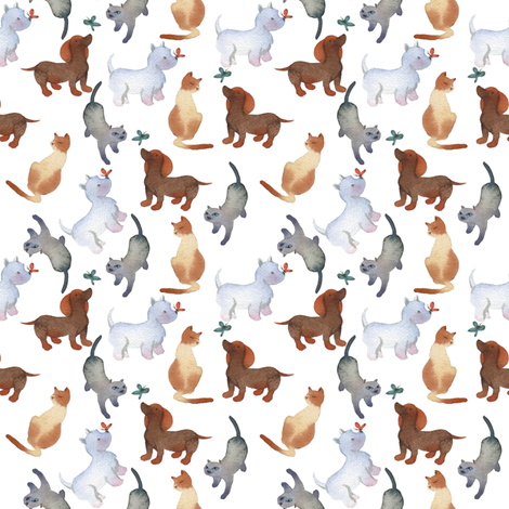 Cats and dogs fabric by ivankacostru on Spoonflower - custom fabric