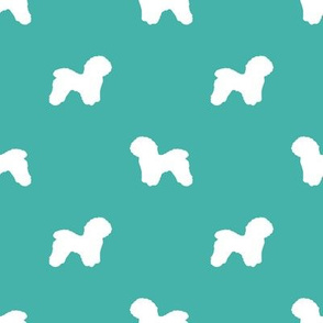 Bichon Frise silhouette dog fabric pattern turquoise