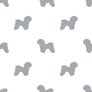 Bichon Frise silhouette dog fabric pattern white grey