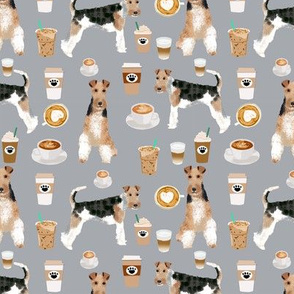 Wire Fox Terriers dog breed fabric coffees grey