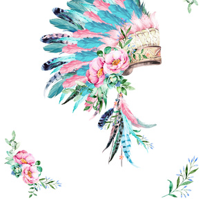 "56""x72"" / 2 Yards / Aqua & Pink Headdress"