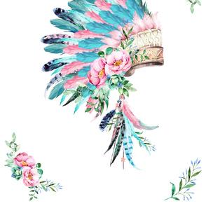 "56""x72"" / 2 Yards / Aqua & Pink Headdress"