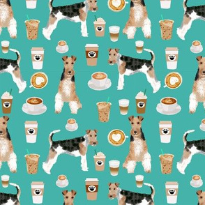 Wire Fox Terriers dog breed fabric coffees turquoise