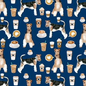 Wire Fox Terriers dog breed fabric coffees navy