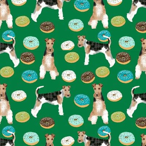 Wire Fox Terriers dog breed fabric donuts boys green